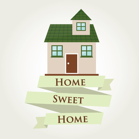 home sweet home: green Home sweet home with ribbon sign  Vector illustration