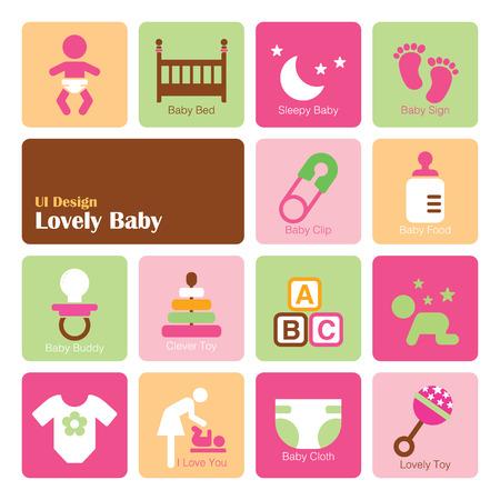 Set Baby Girl icons, flat UI design trend, vector illustration of web design elements