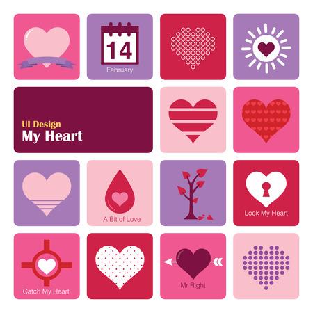 Set Heart icons, flat UI design trend, vector illustration of web design elements