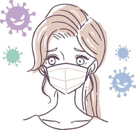 Illustration material of virus and woman