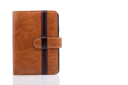 Leather diary book cover isolate on white background photo
