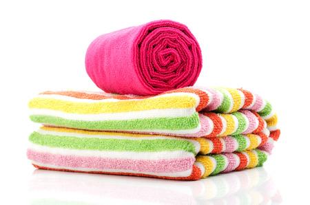 Bath towel isolated on white  版權商用圖片