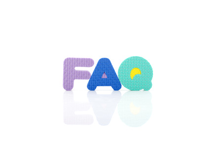 frequently: Frequently ask question concept, word faq in wordblock on white background