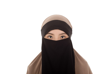 niqab: Portrait of a beautiful Muslim Arabic girl Stock Photo