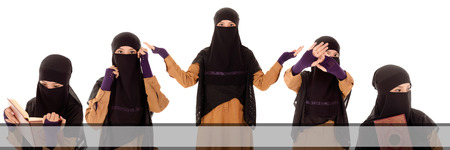 A set of Niqab women isolated on white background