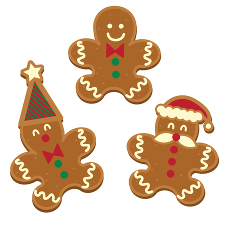 tree gingerbread man cookie holiday vector illustration on white background
