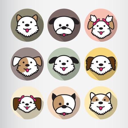 shih tzu: Dog Icon Flat Cartoon Design Vector Illustration Illustration