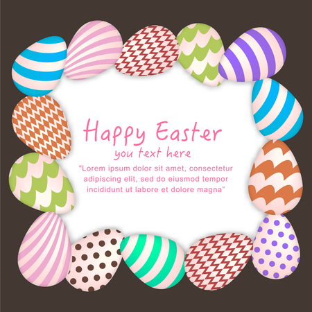 flier: Easter Background with Colorful Hanging Egg vector illustration for greeting card, ad, poster, flier, blog, article