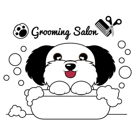 Grooming Dog Salon, Cane in vasca e sapone bolle. Illustrazione Vettoriale