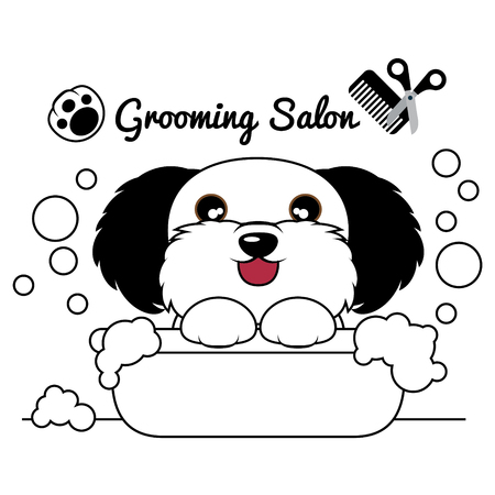 Grooming Dog Salon , Dog in tub and bubbles soap. Vector Illustration