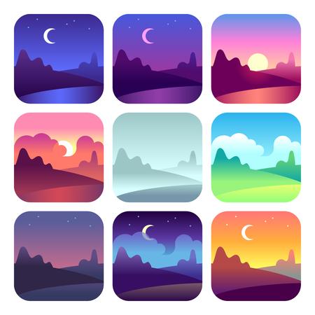 Verschiedene Tageszeiten. Sonnenaufgang und Sonnenuntergang am frühen Morgen, Mittags- und Abenddämmerung. Sonnen- und Mondzeitlandschaftslandschaftsvektorikonen