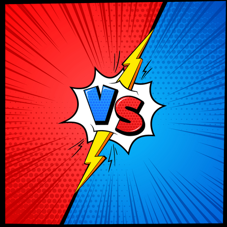Vs cartoon background. Versus letters comic book frame with halftone. Battle competition mma fighting challenge vector affront concept with lightning Vetores