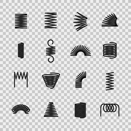 Ressort en acier. Forme de ressorts en fil d'acier flexible en spirale. Icônes de ligne d'équipement sous pression absorbant