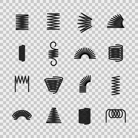Stahlfeder. Spiralförmige flexible Stahldrahtfedern Form. Absorbierende Druckgeräteliniensymbole