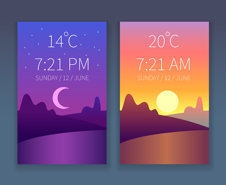 Day night app. Morning, night and day sky. Nature landscape with trees and hills. Weather flat background for phone interface. Vector concept
