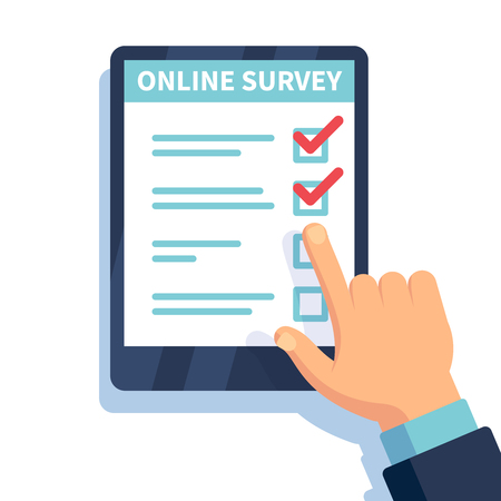 Online survey. Internet surveying, hands holding tablet with test form. Mobile questionnaire, customers voting vector concept