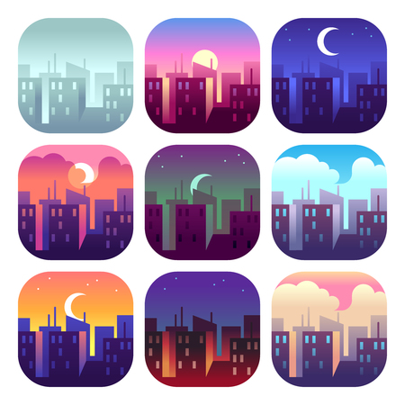City day times. Early morning sunrise sunset, noon and dusk evening, night cityscape skyscrapers buildings. Urban vector concept