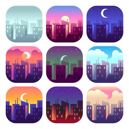 Tageszeiten der Stadt. Sonnenaufgang am frühen Morgen, Mittags- und Abenddämmerung, Nachtstadtbild-Wolkenkratzergebäude. Urbanes Vektorkonzept