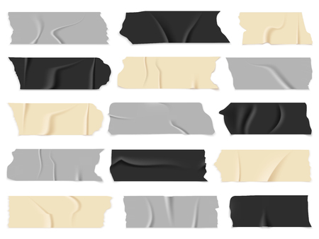 Transparent adhesive tapes, sticky pieces. Isolated vector illustration set