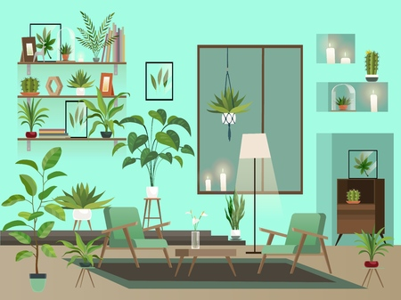 Living room at night. Urban room interior with indoor flowers, chairs, vase and candles Vectores