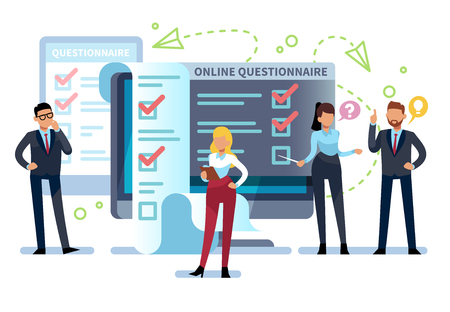 Online questionnaire. People fill out internet survey form on pc. Exam list, successful computer testing, quiz vector concept