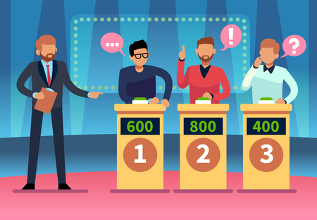 Game quiz show. Clever young people playing television quiz with showman, trivia game tv competition. Cartoon vector illustration