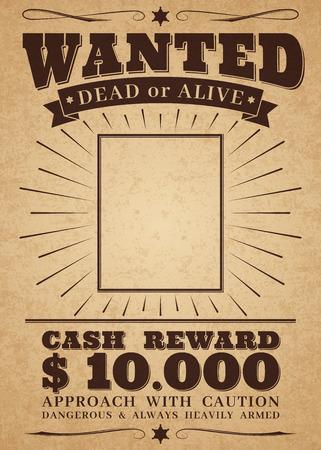 Affiche western vintage recherchée. Hors-la-loi du crime mort ou vif. Recherché pour la bannière rétro de récompense