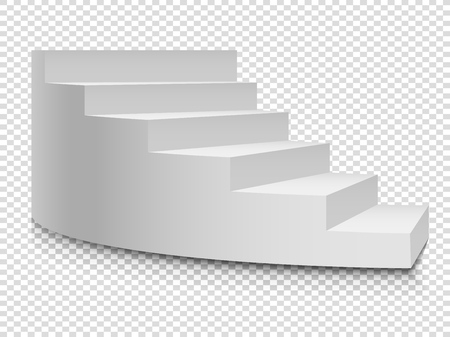 White 3d circular ladder. Vector staircase and stairway up to success on transparent background Stock Illustratie