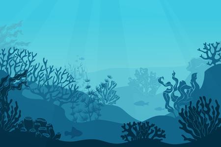 Underwater seascape. Seafloor, undersea with seaweed. Dark saltwater with corals silhouettes. Ocean reef bottom vector background Illustration