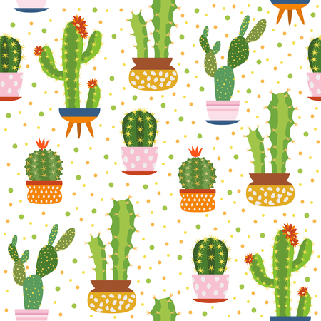 Cacti seamless pattern. Spiky cactus, desert plants bright repeated texture cute flower print aloe vera botanical vector illustration