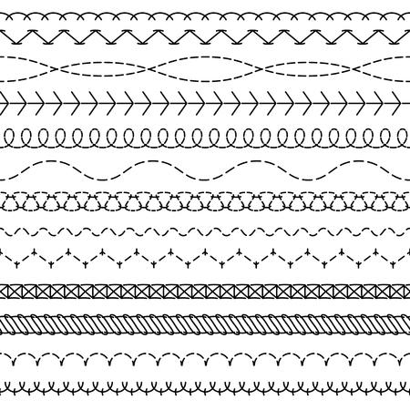 Coser líneas. Cosido de patrones sin fisuras enhebrar bordes coser bandas de tela con hilos en zigzag bordes coser bordado textil concepto vectorial