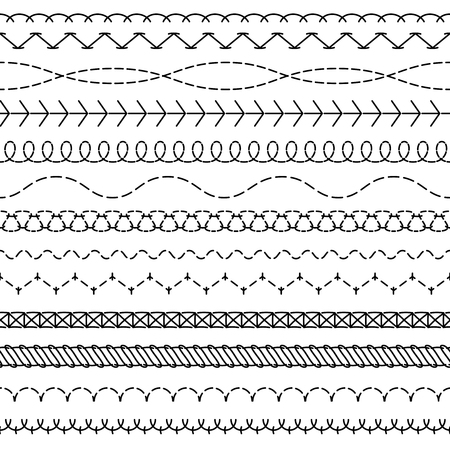 Stitch lines. Stitched seamless pattern threading borders sewing stripe fabric thread zigzag edges sew embroidery textile vector concept 矢量图像