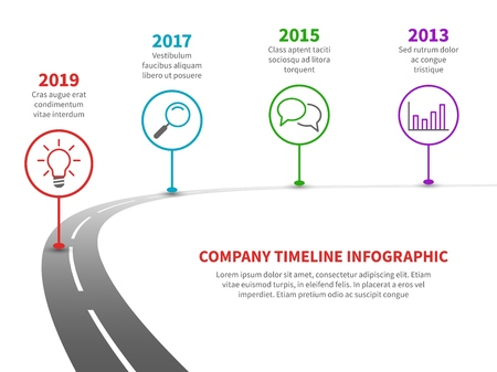 Tijdlijn weg infographic. Strategieproces naar succesroutekaart met historische mijlpalen. Zakelijk bedrijf planning vector sjabloon