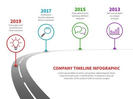 Timeline-Straßen-Infografik. Strategieprozess zur Erfolgs-Roadmap mit historischen Meilensteinen. Vektorvorlage für die Planung von Geschäftsunternehmen