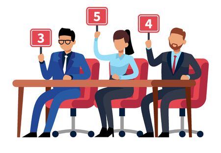 Jury judges holding scorecards. Quiz people show. Professional competition judges, trivia game jury vector cartoon illustration Stock Illustratie