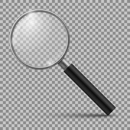 Realistic magnifying glass. Magnification zoom loupe, scrutiny microscope magnify lens. Detective tool isolated vector mockup Çizim
