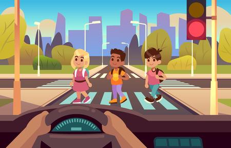 Car inside crosswalk. Drivers hands on wheel panel, kids crossing street pedestrian motion, stop, light warning, urban carton illustration