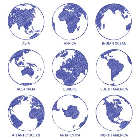 Croquis de globe. Carte monde globe dessiné à la main, continents de concept de cercle de terre contour planète océans croquis de terre, ensemble de vecteurs Vecteurs