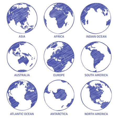 Globe sketch. Map world hand drawn globe, earth circle concept continents contour planet oceans land sketches, vector set Vetores