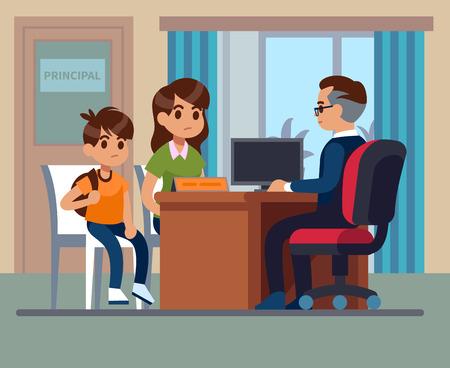 Hauptschule. Eltern-Kinder-Lehrer-Treffen im Büro. Unglückliche Mutter, Sohn spricht mit wütendem Direktor. Schulbildung-Vektor-Bild Vektorgrafik