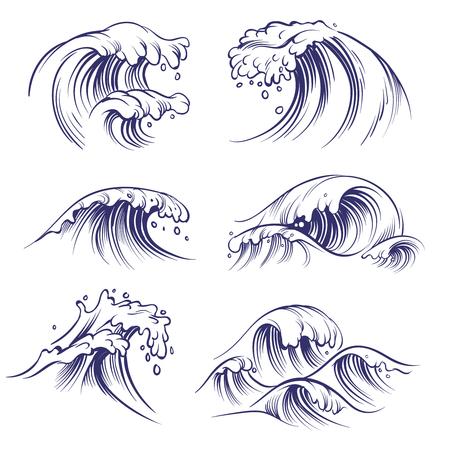 Sketch wave. Ocean sea waves splash. Hand drawn surfing storm wind water doodle vector set