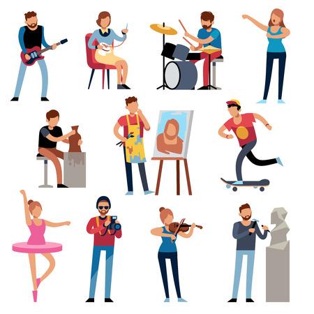 Hobby-Personen. Menschen in kreativen Berufen bei der Arbeit. Künstlerische Berufe, Retro-Hobby-Cartoon-Figuren-Vektor-Illustration-Set