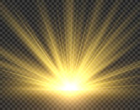 Luz del sol aislada. Resplandor de rayos de sol dorado. Ilustración de starburst de sol transparente de foco brillante amarillo