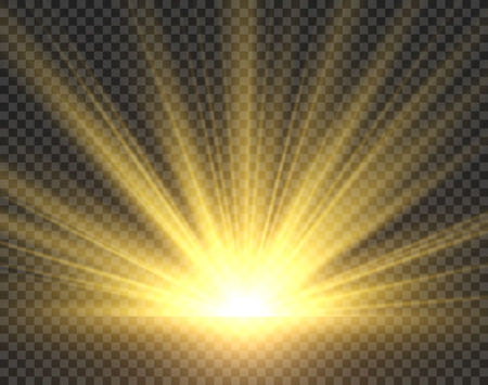 Sunlight isolated. Golden sun rays radiance. Yellow bright spotlight transparent sunshine starburst illustration
