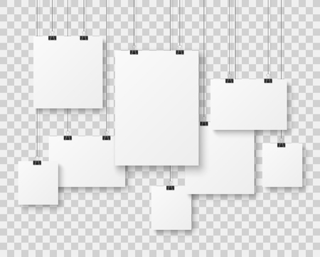Blank picture gallery. Presentation paper posters, photo canvas clean advertising hanging banner on strings vector isolated mockups Ilustración de vector