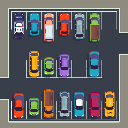 Parking top view. Many cars on parking zone, different vehicles in parked lot from above. Auto vector infographic illustration