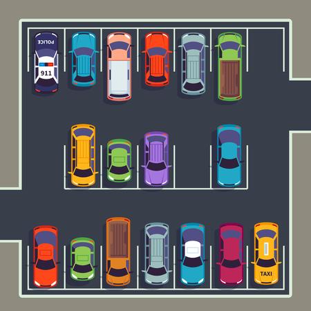 Vue de dessus du parking. Beaucoup de voitures sur la zone de stationnement, différents véhicules dans le parking d'en haut. Illustration infographique vectorielle automatique