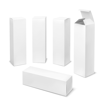 Hoge witte doos. Kartonnen cosmetische dozen rechthoekig leeg pakket met schaduwen geneeskunde product verticale verpakking vector mockup