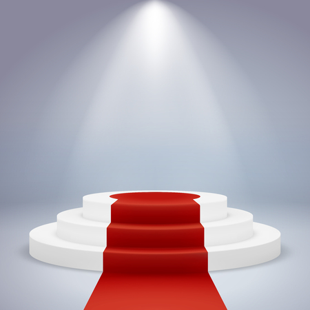 Realistic podium. Pedestal award winner ceremony first vip prestige spotlight carpet red, white round, vector illustration