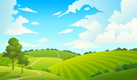 Summer field landscape. Nature hills fields blue sky clouds sun countryside. Green tree and grass rural land. Cartoon vector